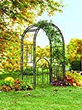 Plow and Hearth Montebello Garden Arbor Trellis with Gate, Tubular Iron, Burnished Bronze Finish, 53 in W x 23 in D x 84 in H
