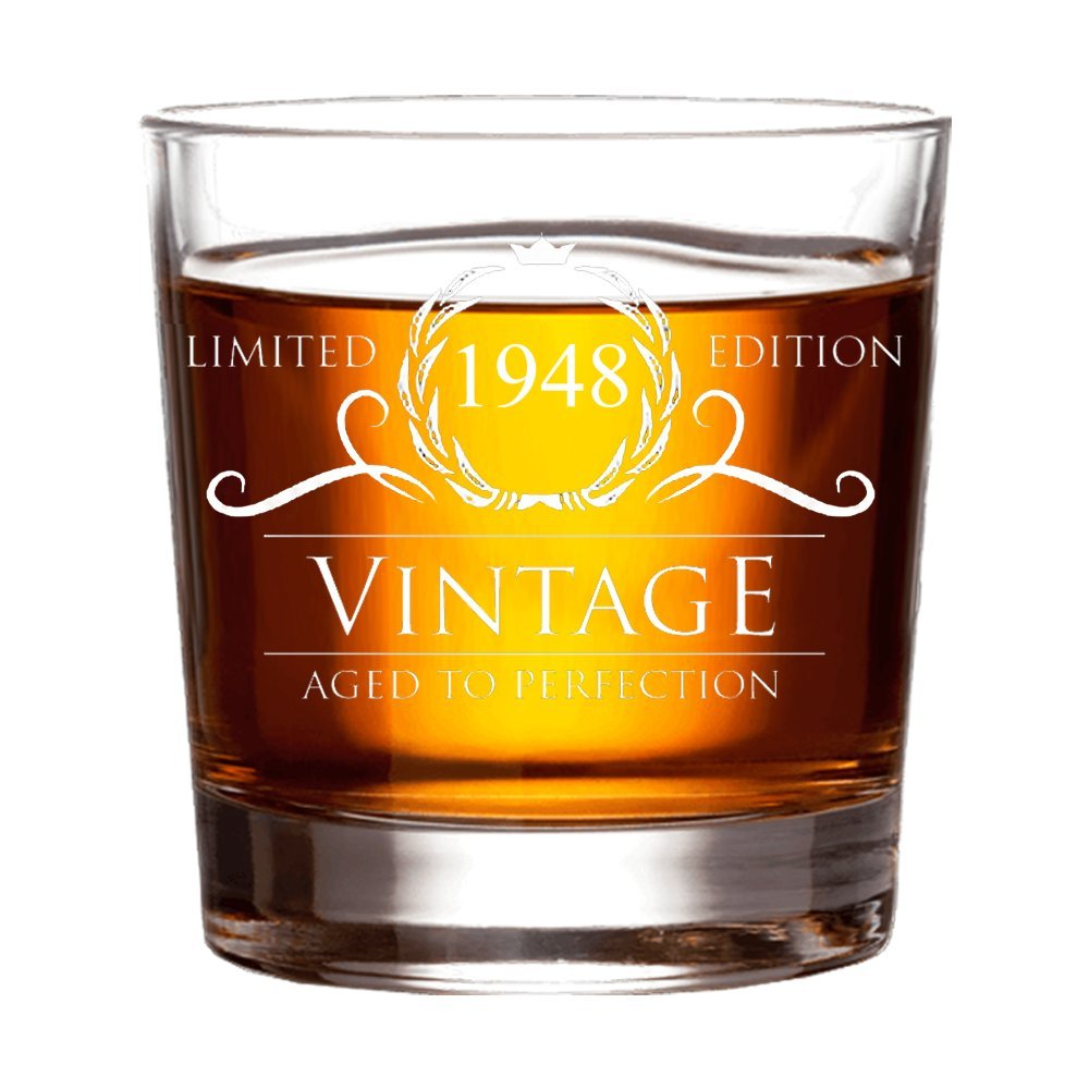 1948 70th Birthday Gifts for Women and Men Whiskey Glass - Funny Vintage Anniversary Gift for Him Her Dad Mom Husband or Wife. 11 oz Whisky Bourbon Scotch Glasses. Decorations