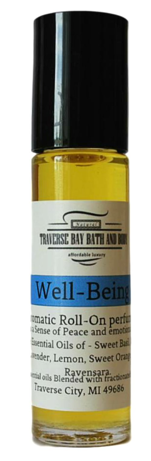 Well-Being aromatic perfume oil, Synergy Blend, blended with 100% pure Essential Oils.