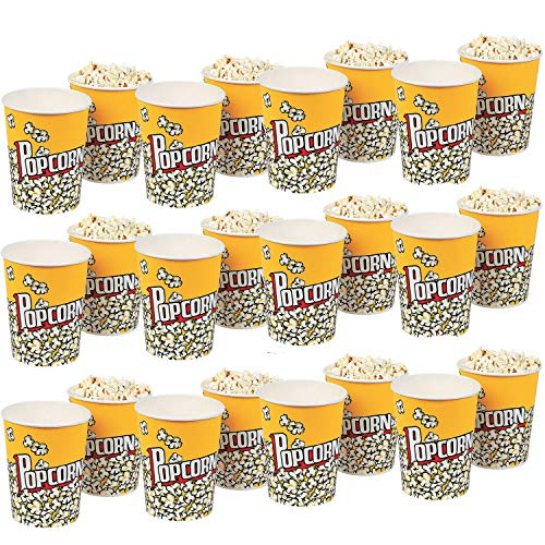 (Kicko Classic Popcorn Cups - 24 Pieces Disposable Food Container - Perfect for Kernels, Ice Cream, Carnivals, Street Fairs, Night Movie, Party Favor and)