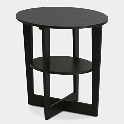 Rounded End Table Round Small Wood MOdern Simple Style Side Table With  Storage Shelf For Living