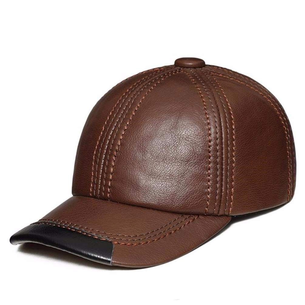 Thundertechs Man Woman Autumn and Winter Leather hat Baseball Cap Outdoor Warm hat Cap (Color : Red-Brown, Size : 22.04-23.62inch)