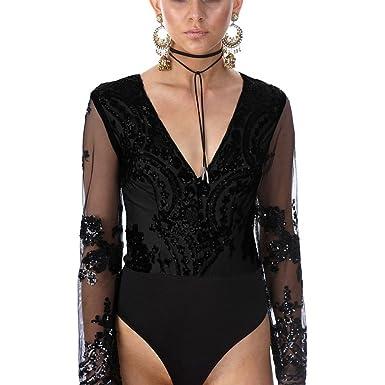 MASHIKOU Body Femmes Elegant V Cou Strass Bustier Maille Manches Longues  Bodysuit Combinaisons Justaucorps Débardeur Top 9cdaaafc5ea