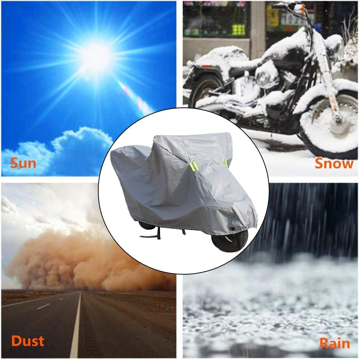 All Weather Outdoor Protection Protect Against Dust Silver Ecloud Shop Motorcycle Cover Waterproof Outdoor Storage Bag Debris Rain and Weather-L