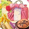 プレゼント 人気スイーツと和菓子のギフトセット(編み籠入り風呂敷包) ピンク風呂敷