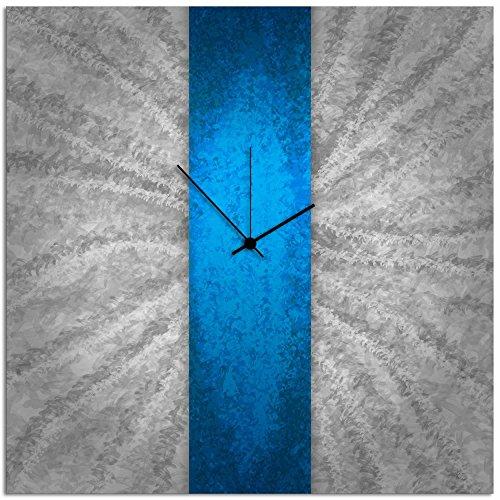 - Metal Art Studio Blue Stripe Clock Large Contemporary Decor