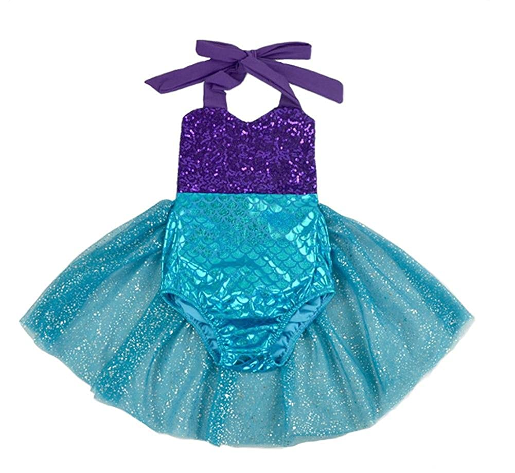 Coralup Baby Girl Mermaid Sequins Romper One Piece Swimsuits with Tutu Dress Summer Outfits