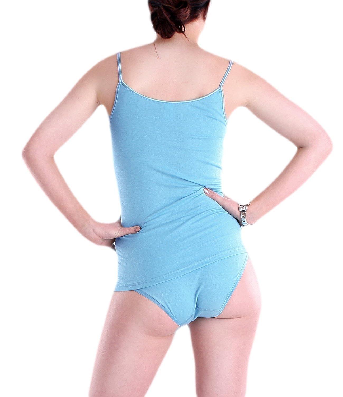 Damen Spaghettitop Unterhemd Micromodal mit Elasthan - Schöller - Farbe  Azur Blau - Größen 38-50: Amazon.de: Bekleidung