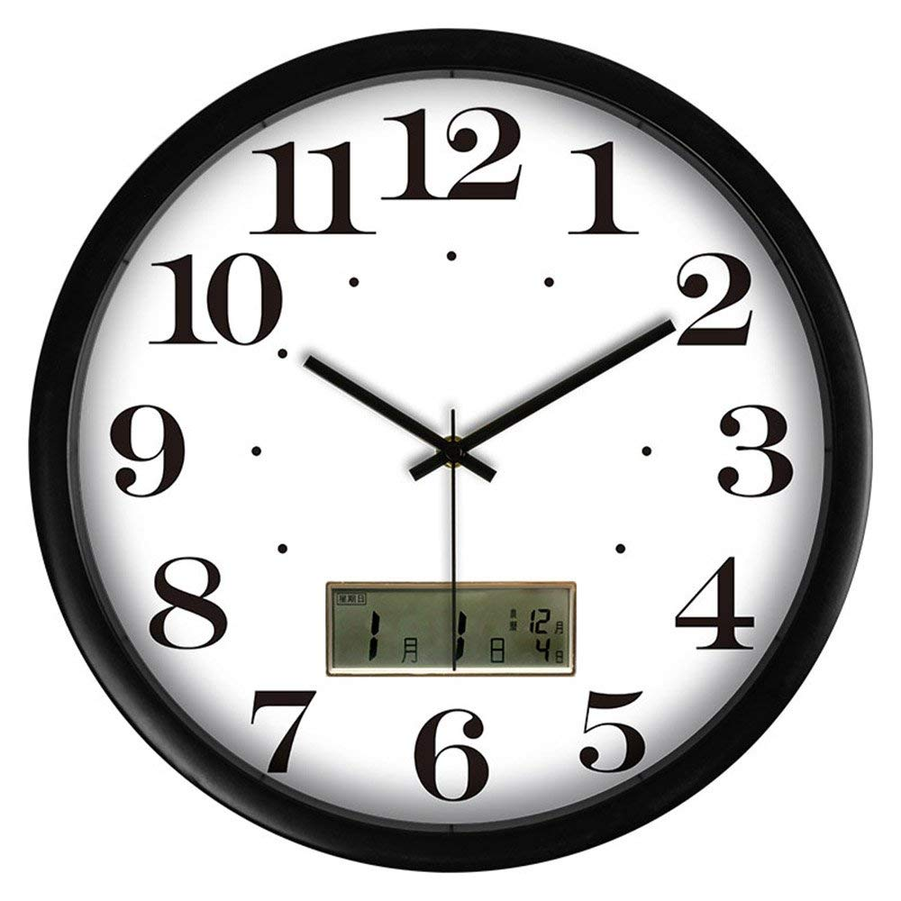 CWJ Clock- Wall Clock Metal Simple Personality Quiet Clock Wall Clock Creative LCD Clock Modern Living Room Modern Mute Calendar Electronic Clock Personalized Wall Clock Hanging Table 12 Inches / 14