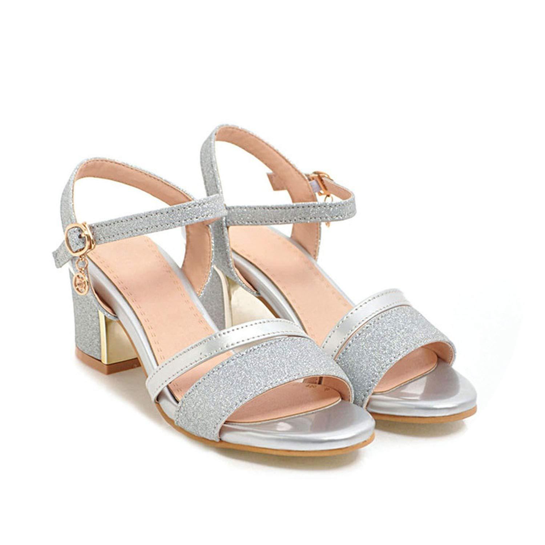 - Women Sandals Block Heels Lady Party shoes Glitter High Heels Summer shoes,Silver,4