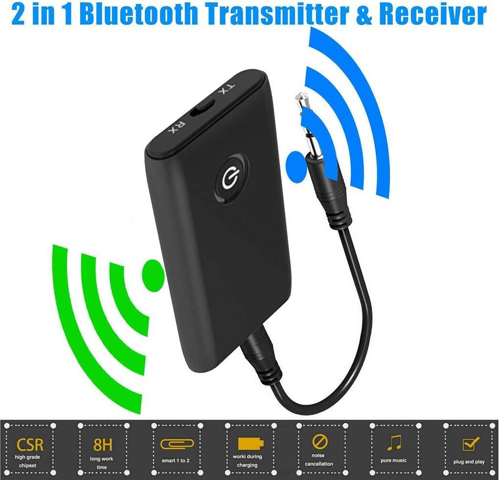 2-IN-1 Bluetooth Music Receiver Transmitter 3.5mm Adapter fo Speaker TV Car