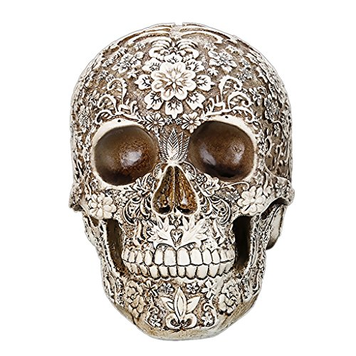 SM SunniMix 1:1 Life Size Realistic Human Skull Model, Resin Skeleton Head Figurine Decorations - Carving Flower Gothic Style]()