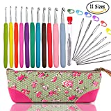 WooCrafts TM Crochet Hook Set,Ergonomic Grip,Crochet Hooks,Mom Gifts,Best Crochet Hook,Best Friend Gifts,With Crochet Hook Case,Great Crochet Starter Kit,Easy Grip Crochet Needles,Aluminum Crochet Hook Set,Best Birthday Gifts for Her,Crochet Hooks Ergonomic + Yarn Needles,Stitch Markers,Cute Knitting Stitch Row Counter Mini Kacha,etc.