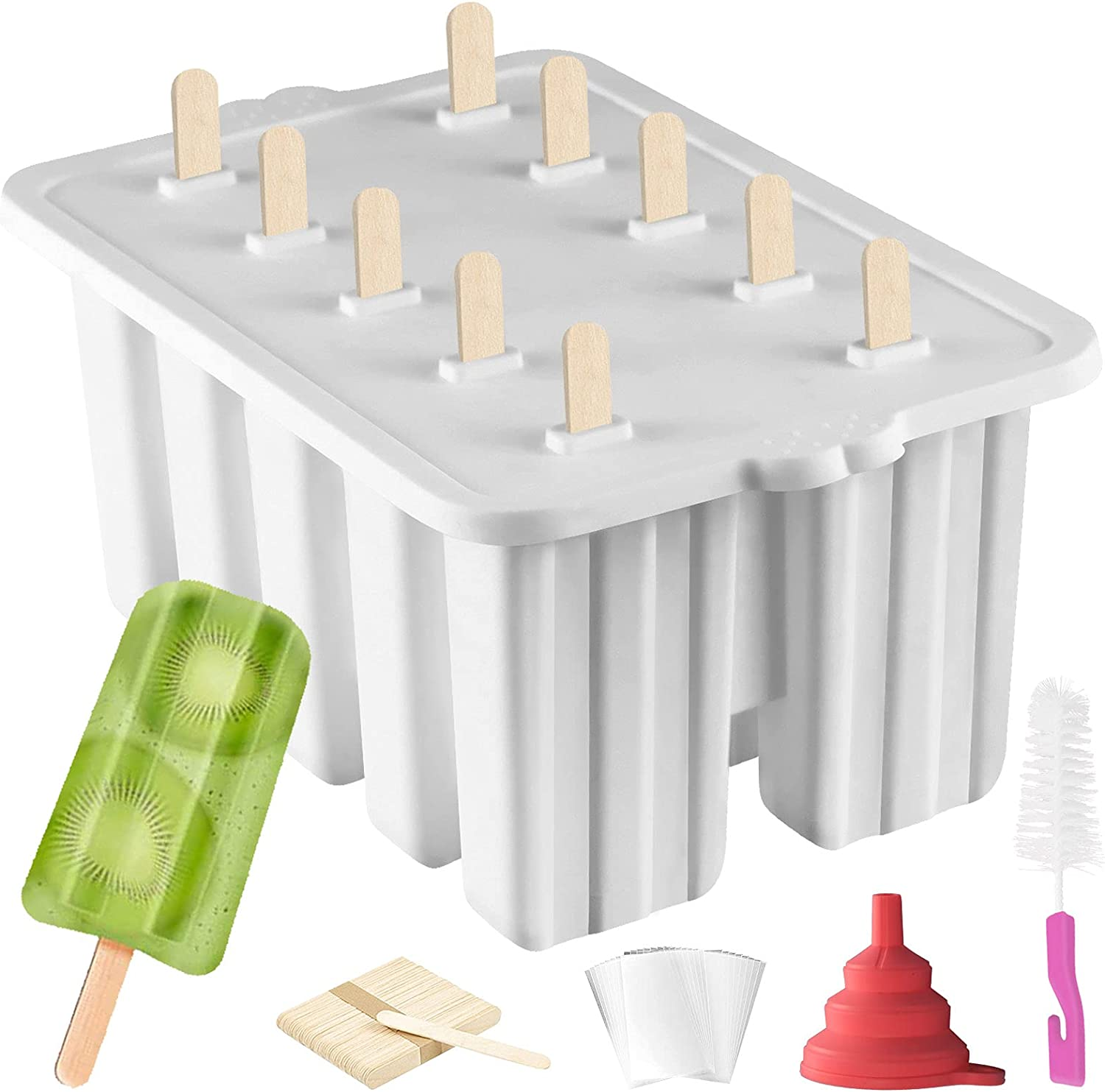 Silicone Popsicle Molds Popsicle Maker,10 Cavity Homemade ICE Pop Molds Food Grade BPA-Free Popsicle Mold with Popsicle Sticks Popsicle Bags A Funnel,Cleaning Brush Popcycle mold