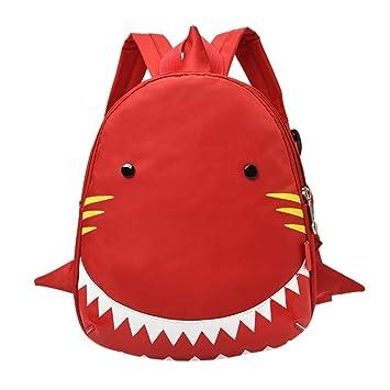 mochilas escolares, Sannysis Mochila para niños - Patrón de Tiburón (rojo): Amazon.es: Deportes y aire libre