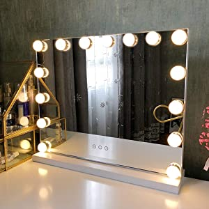 Fenair Makeup Mirror with Lights USB Outlet Hollywood Vanity Mirror, 3 Color Modes Cosmetic Mirror, Frameless Tabletop Mirror with Smart Touch Control, 15 Dimmable Bulbs (White)