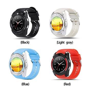 FAVOLOOK V8 - Reloj inteligente con Bluetooth, pulsera deportiva SIM GSM para Android, reloj de salud, podómetro de fitness, 0.02, color negro: Amazon.es: ...