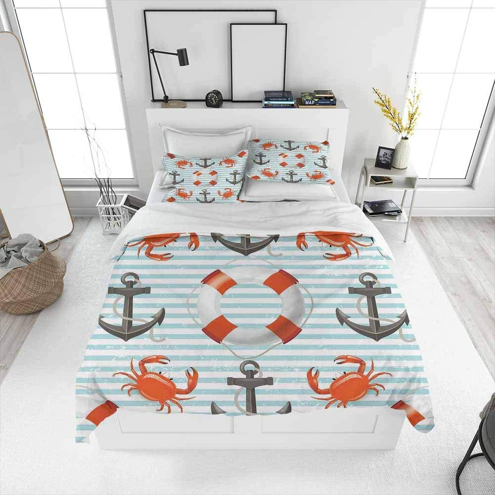 Nautical Bedding 3-Piece California King Bed Sheets Set, Life Rings Anchor And Ropes Ocean Crabs Coastal Theme Teal Striped Print Bedding Set All Season Quilt Set Warm bedding Scarlet Black Teal