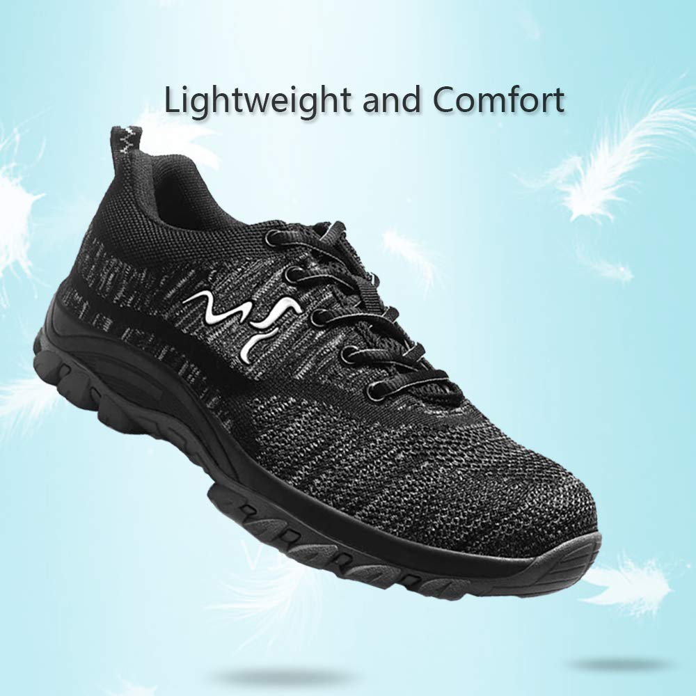 UPSTONE Work Shoes for Men, Indestructible Steel Toe Battlefield Shoes Work Safety Womens Shoes Breathable Construction Sneakers, Black 46