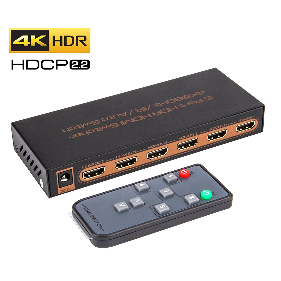 ROOFULL 5 in 1 Out HDMI 2.0 Switch 4K 60Hz HDR HDCP 2.2 Dolby Vision 1080P 3D, 5x1 5 Pors HDMI 2.0 Switcher with IR Remote, Compatible for PS4 Pro, Xbox One/360, Fire TV, Apple TV and More
