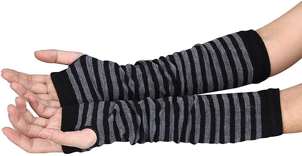 OSYARD Damen Wrist Warmers Halbfinger Handschuhe Armw/ärmer Wollhandschuhe Winterhandschuhe Strickhandschuhe Winter Handw/ärmer Gestreift Gestrickt Lange Fingerlose Handschuhe F/äustlinge Pulsw/ärmer