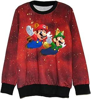 YamYamdan Super Mario Uomo Autunno Rotondo Collo Manica Lunga Cartoon Stampata Sweatshirt Allentato Pullover Moda Casual Maglione