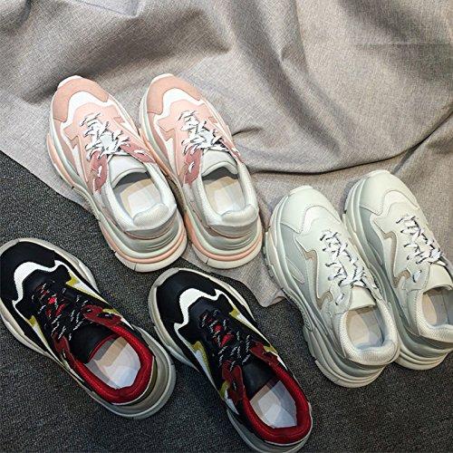 QQWWEERRTT Zapatos de Moda Femenina Zapatos Deportivos Harajuku New Wild PU Zapatos Individuales Zapatos de Plataforma blanco