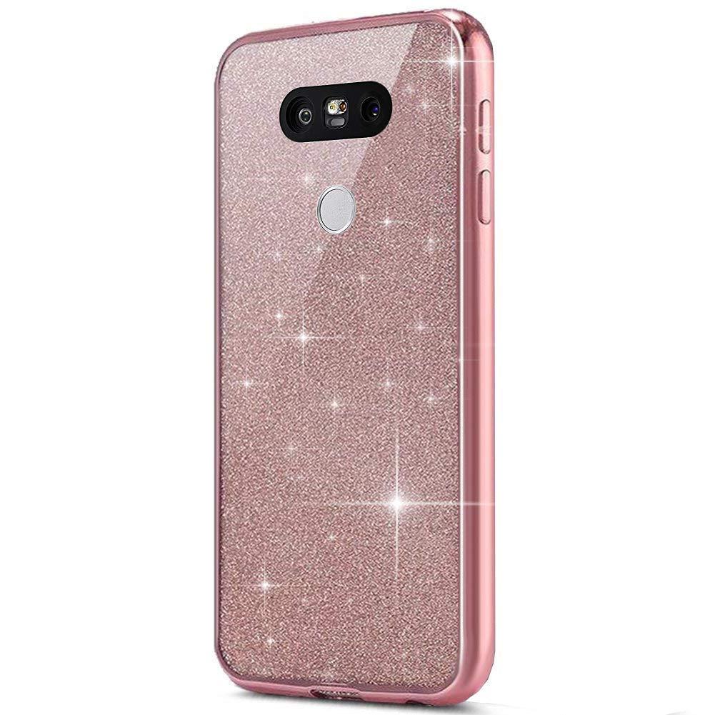 LG G5 Case,Surakey Rhinestone Diamonds Ultra Thin Silicone Case Glitter Shock Absorbing Premium TPU Silicone Bumper Case Protective Shell Bumper for LG G5,Rose Gold
