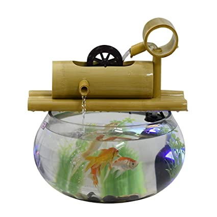 Amazon.com : Bamboo Creative Goldfish Tank Aquarium Living Room Small Mini Glass Desktop Office Water Fountain Decoration Ornaments : Pet Supplies