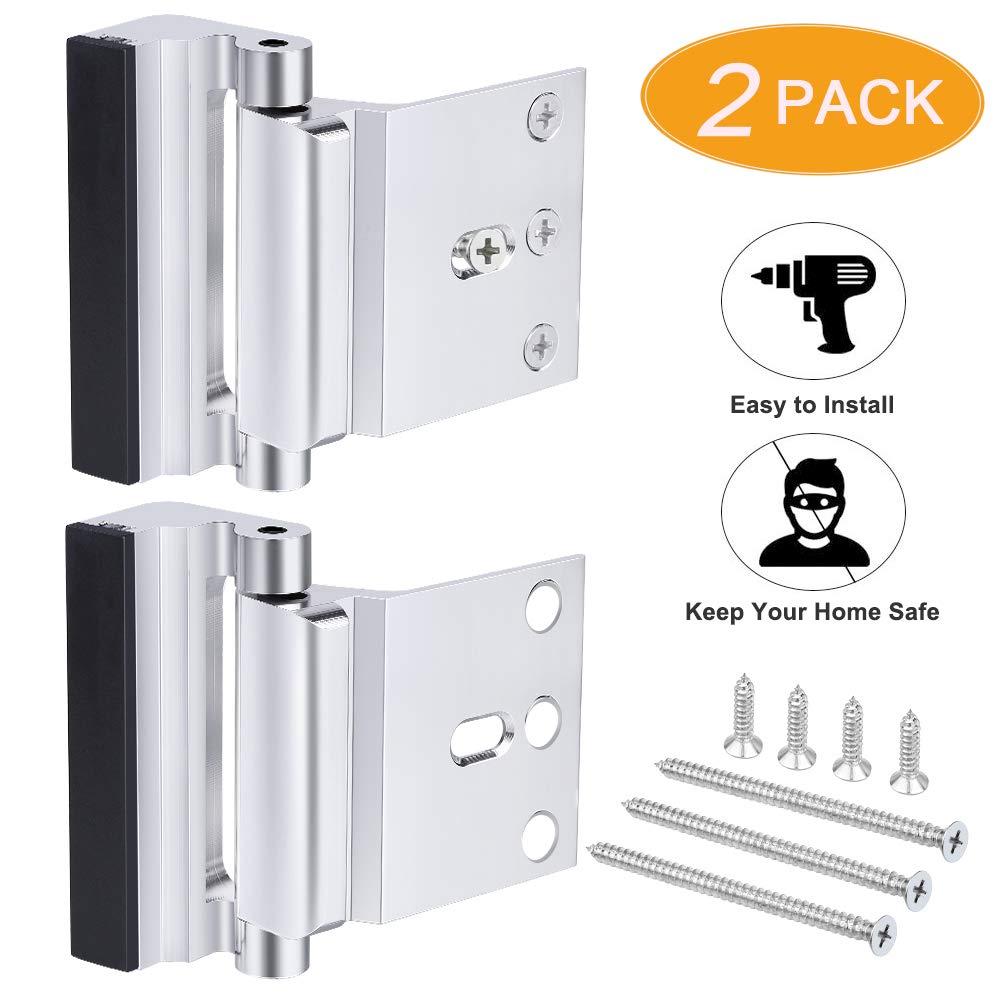 2 Pack Home Security Door Lock, Front Door Locks for Kids Home Reinforcement Lock for Swing-in Doors, Upgrade Nightlock Thicken Solid Aluminium Alloy Satin Nickel ( Silver)
