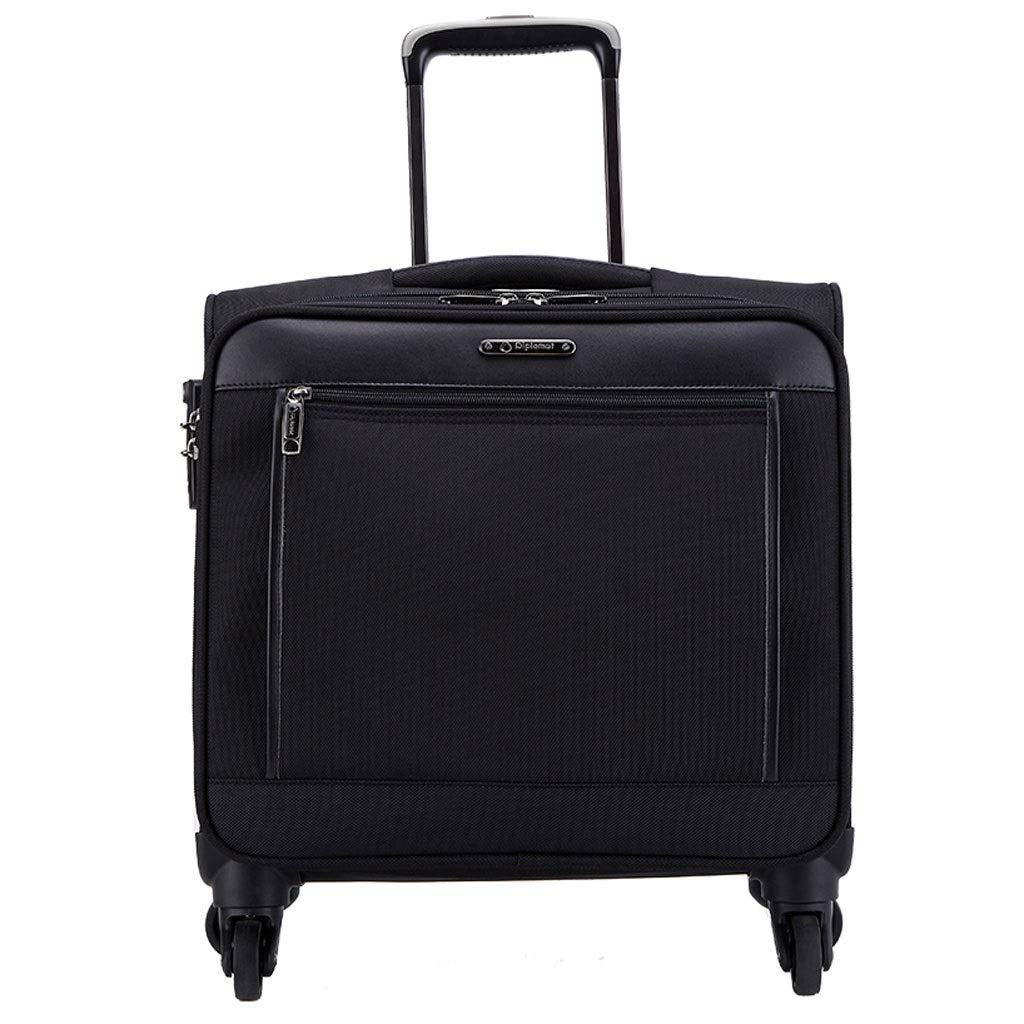 FRF トロリーケース- 男性と女性のスモールビジネストロリーケース搭乗荷物16インチ (色 : ブラック, サイズ さいず : 16in) B07QKRY4MH ブラック 16in
