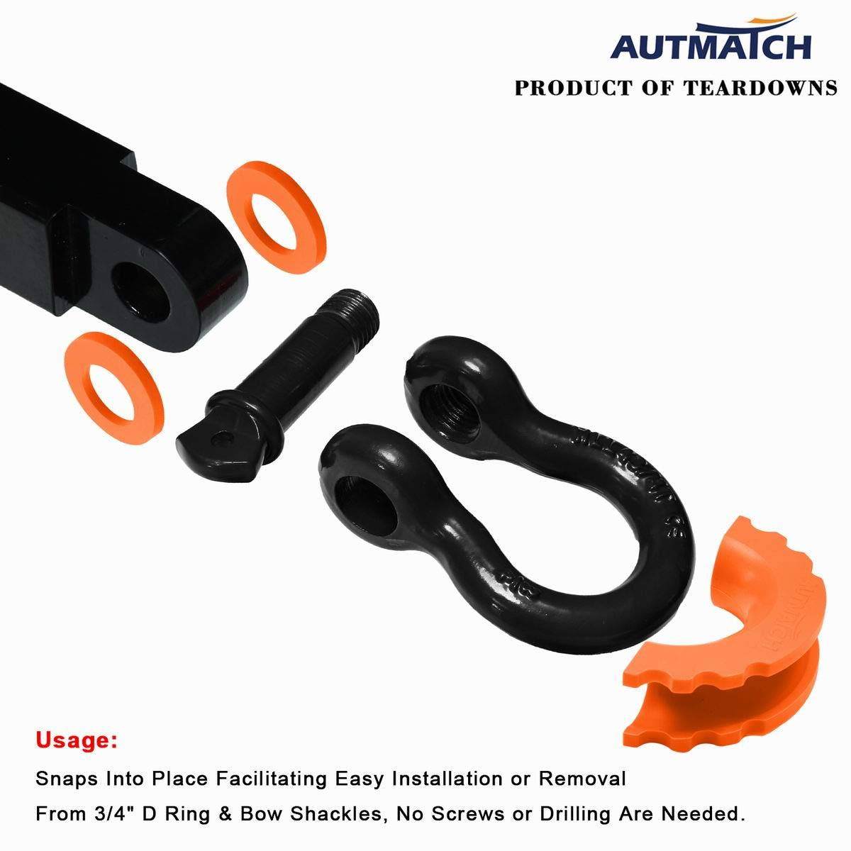AUTMATCH Pack of 2 D-Ring Shackle Isolators Washers Kit 2 Rubber Shackle Isolators and 4 Washers Fits 3//4 Inch Shackle Gear Design Rattling Protection Shackle Cover Teal