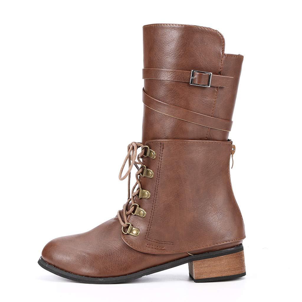 Dainzuy Mid Calf Leather Boots for Women Round Toe Chunky Low Heel lace up Combat Riding Shoes Autumn Winter Boots