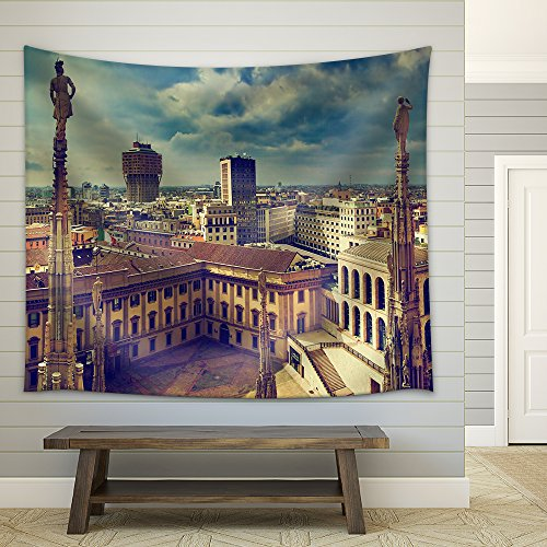 Milan Italy Panorama View from Milan Cathedral Royal Palace of Milan Fabric Wall Tapestry