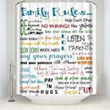 Family Rules Educational Waterproof Fabric Polyester Bathroom Shower Curtain with 12 Hooks 60(w) x 72(h)
