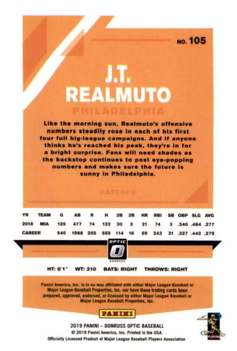 2019 Donruss Optic Baseball #105 J.T Realmuto Philadelphia Phillies Official MLBPA Trading Card From Panini America