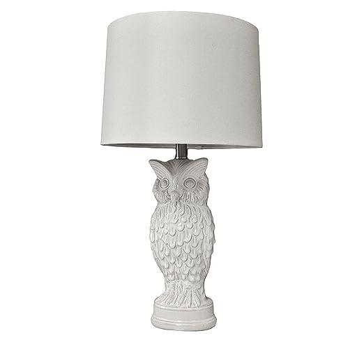 27 h white owl ceramic glaze table lamp with vintage white shade 27quot h white owl ceramic glaze table lamp with vintage white shade for living room aloadofball Choice Image