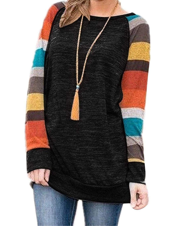 Edited Otoño Invierno Mujer Camiseta de manga larga O cuello a rayas Tops Camiseta informal suelta