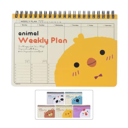 Amazon.com : Cute Animal Coil Weekly Planner, Agenda ...