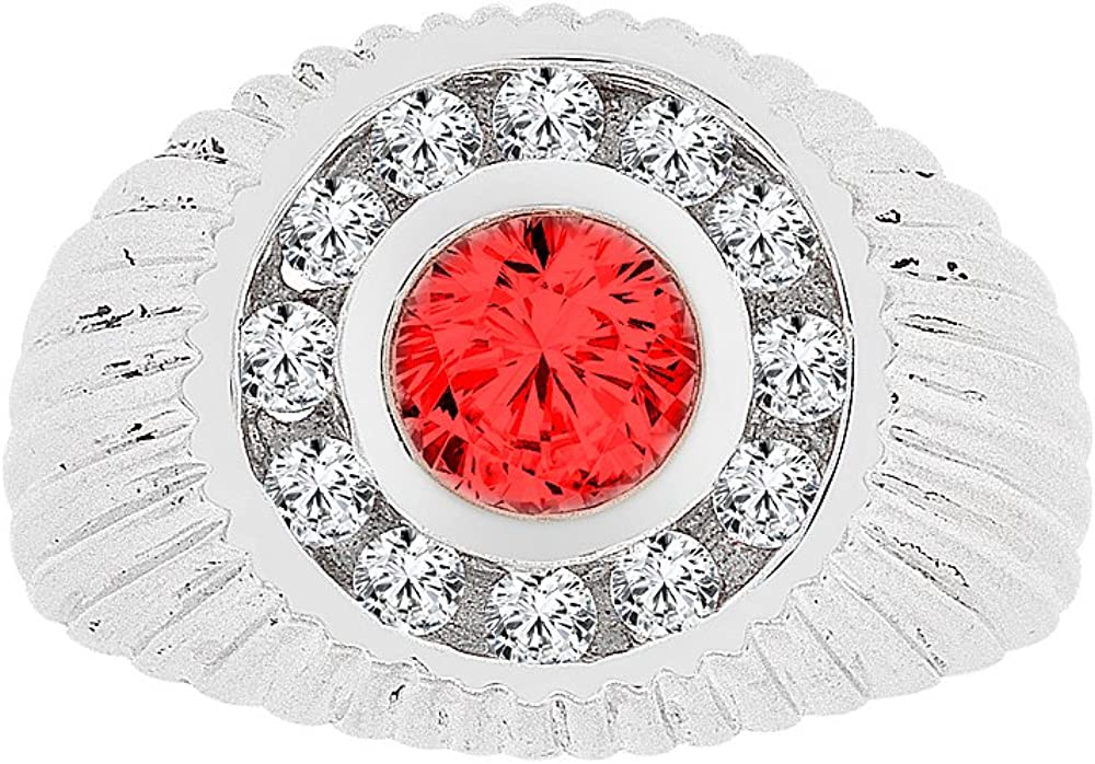 Fancy Ring Men Guy Gent Synthetic Jan Birthstone Dark Red CZ White Rhodium Plated Metal