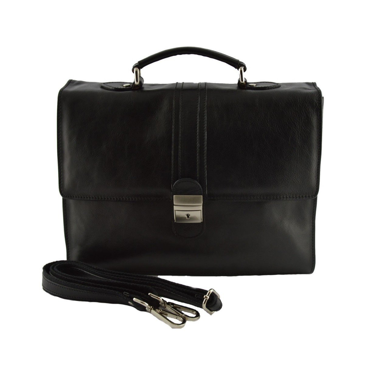 Made In Italy Leather Business Bag Color Black - Business Bag   B014T6FJ1A