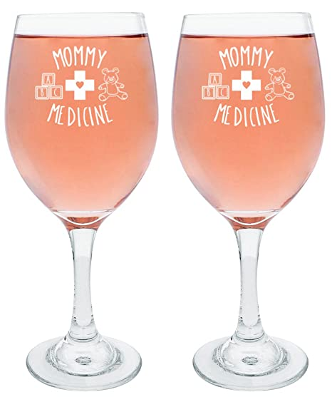Amazoncom Funny Wine Glasses For Mom Mommy Medicine Wine Glass