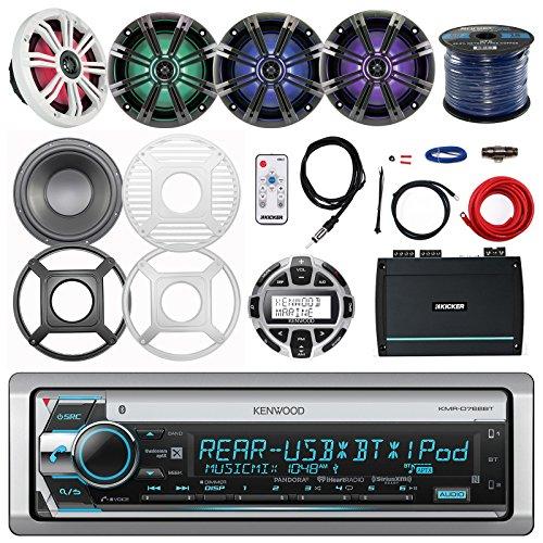 "Kenwood Marine CD Receiver, Remote, Kicker 6.5"" Marine LED Speakers (2 pairs), Controller, Kicker Amp, Jensen 10"" LED Subwoofer, 10"" Subwoofer Grille, Amp Power Kit, Antenna, Enrock Speaker Wire"
