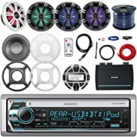 "Kenwood Marine CD Receiver, Remote, Kicker 6.5"" Marine LED Speakers (2 pairs), Controller, Kicker Amp, Optional Jensen 10"" LED Subwoofer, 10"" Sub Grille, Amp Power Kit, Antenna, Enrock Speaker Wire"