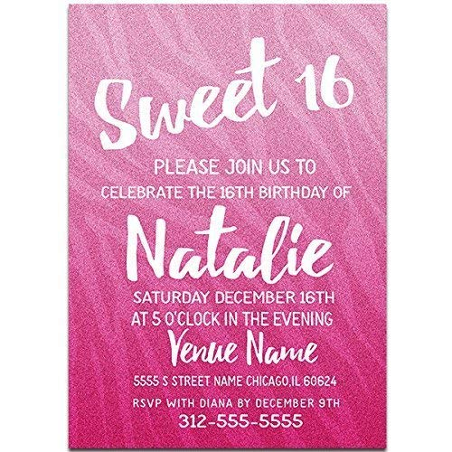 All Pink Sweet Sixteen 16 Birthday Party Invitations