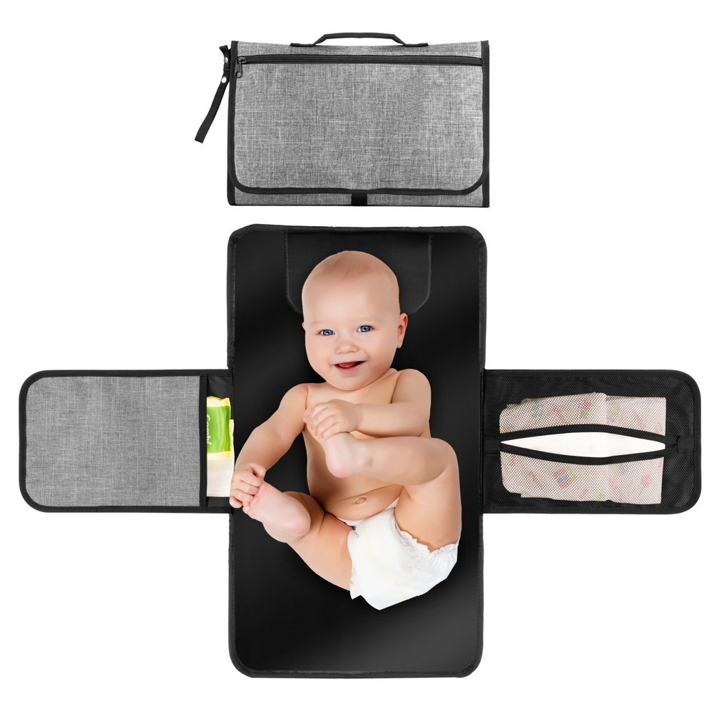 Baby Portable Changing Pad, Diaper Bag Changing Pad Station with Head Cushion, Wipes Pockets-Waterproof & Foldable for Anywhere Use(Grey) by Homlynn