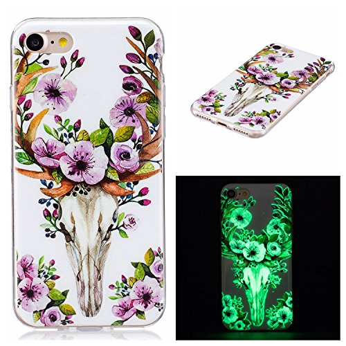 Custodia iPhone 7 , LH Fiore Plum Cervo Fluorescenza Silicone Morbido TPU Case Cover Custodie per Apple iPhone 7 4.7