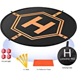 "Drone Landing Pad 4 LED Lights Included 32"" Aurtec Portable Fast-Fold RC Quadcopter Helipad for DJI Mavic Pro, Phantom 2 3 4"