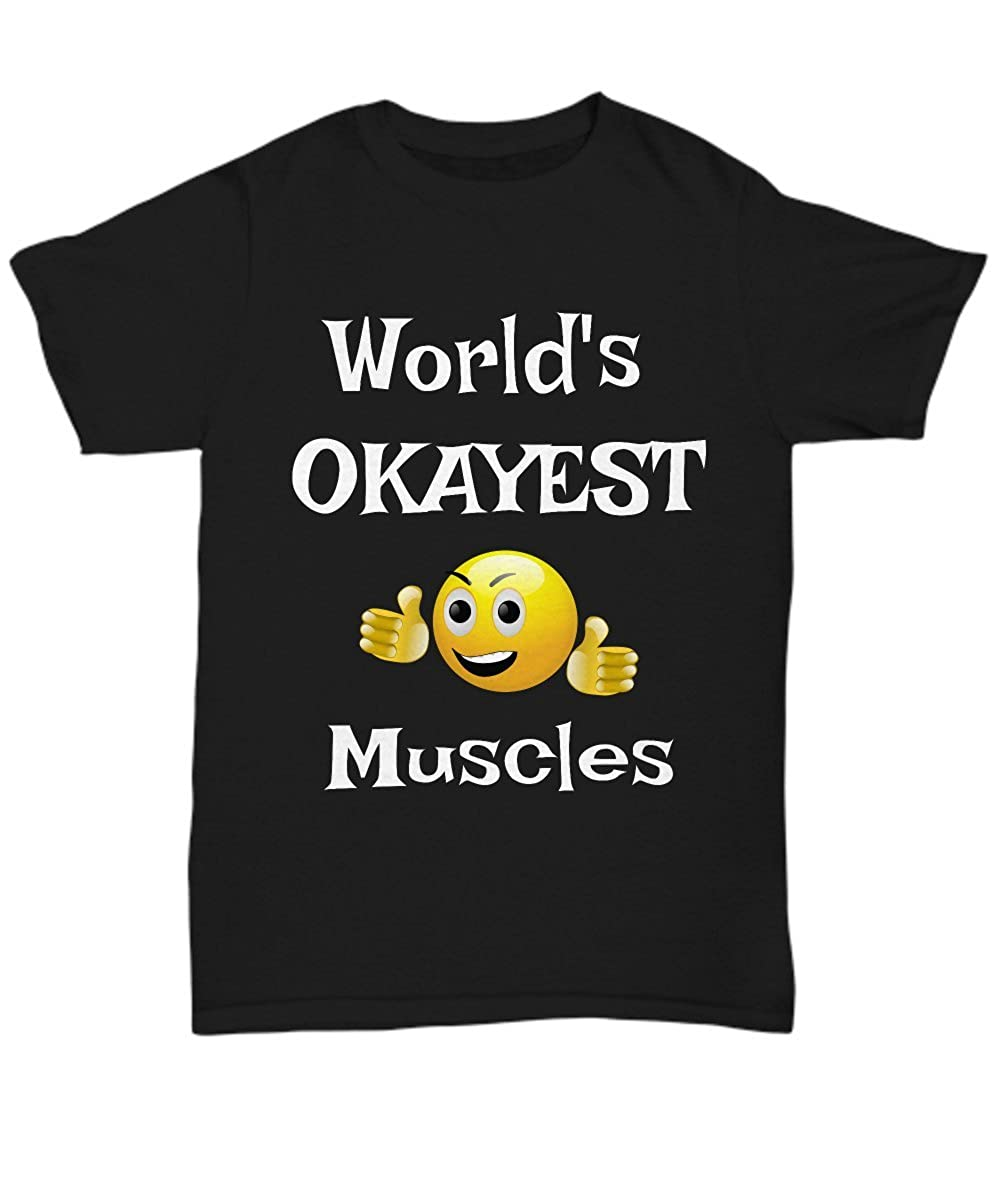 T-Shirts Funny Unisex Tees Infini Shoppify Worlds Okayest Muscles Tees Okayest Employee Gift