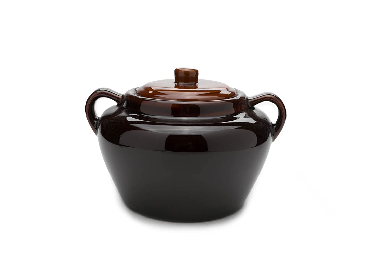 Fox Run 0350COM 0350 Stoneware Bean Pot, 9.75 inches, Brown